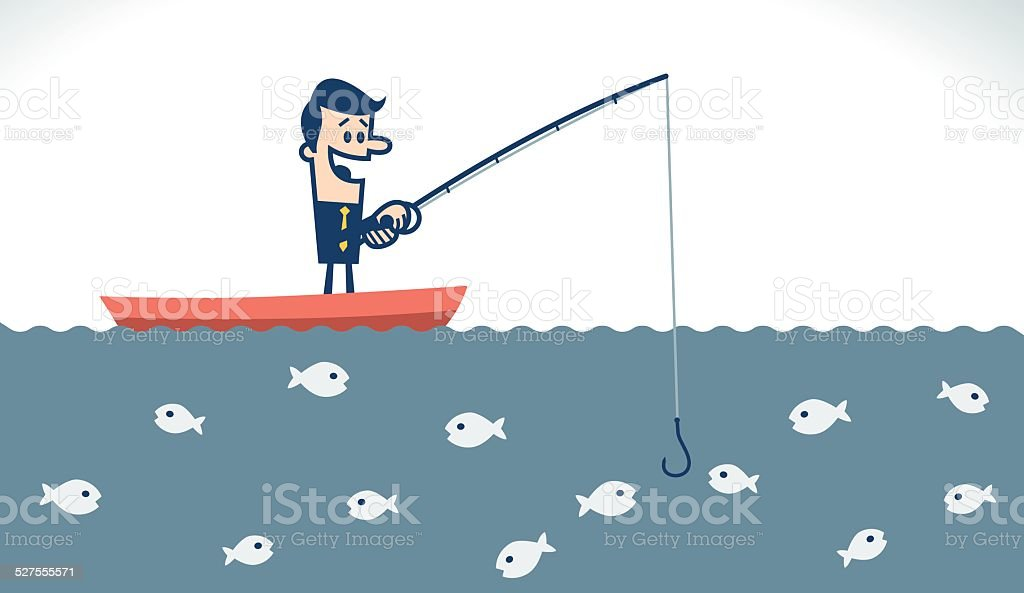 Businessman fishing vector art illustration
