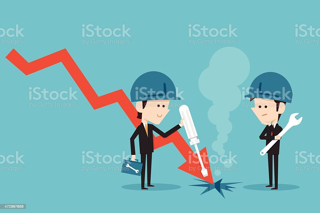 Businessman fixing stock graph vector art illustration