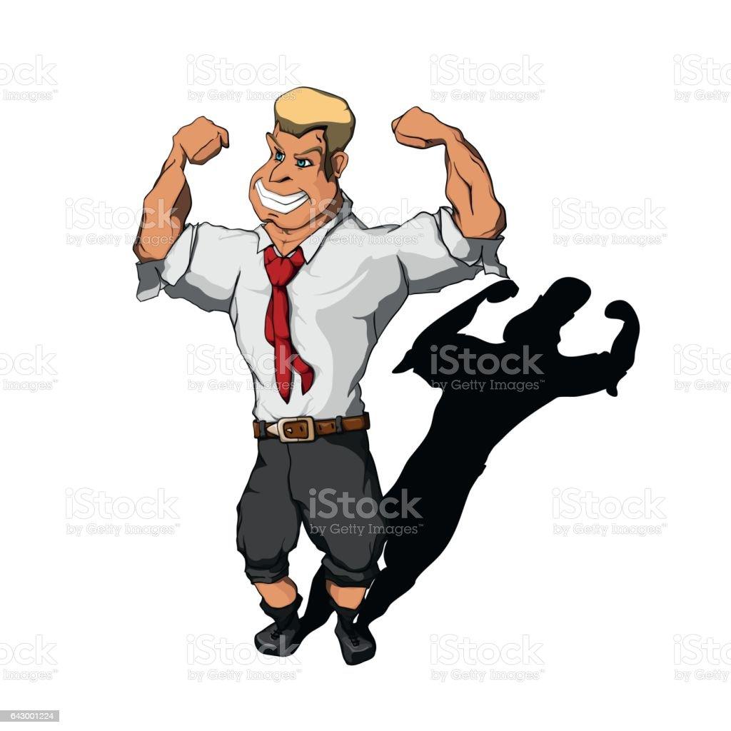 Businessman flexing muscles vector art illustration