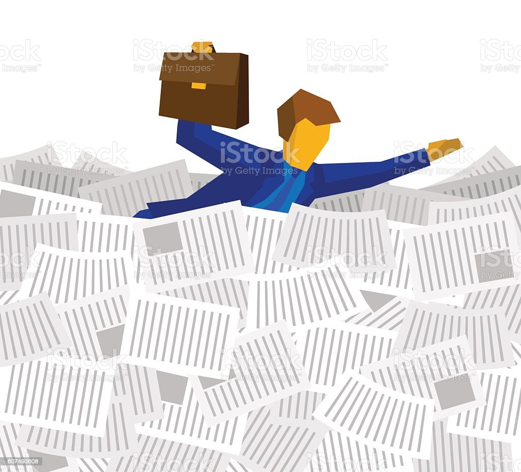 Businessman floating on the sea of papers and documents vector art illustration
