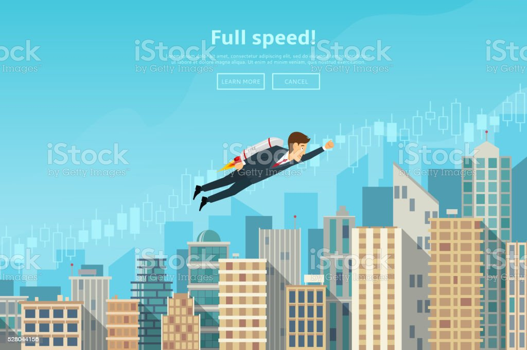 Businessman flying by the rocket up on career stairs royalty-free stock vector art