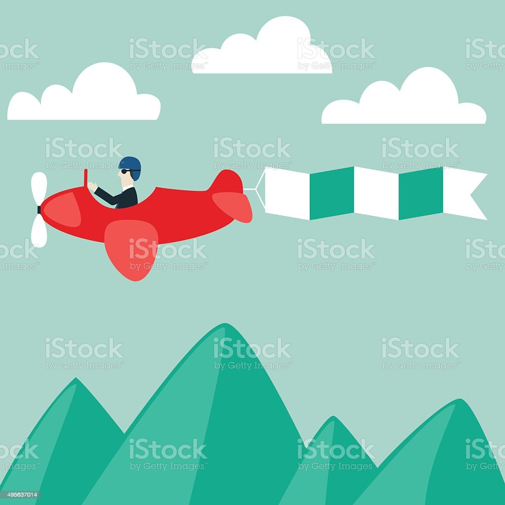 Businessman flying on airplane with banner. International business travel concept vector art illustration