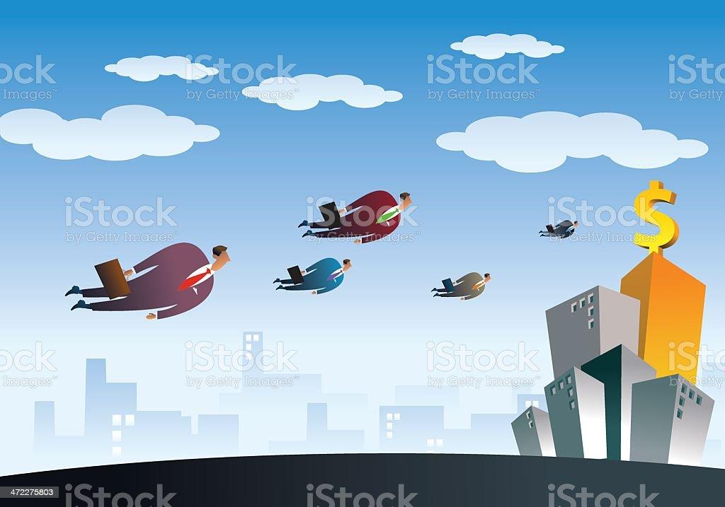 Businessman Flying to New Opportunity vector art illustration