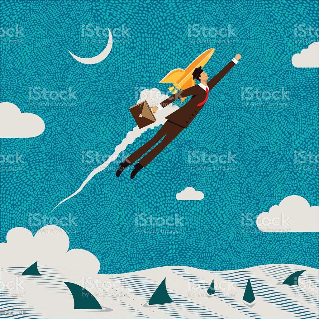 Businessman Flying vector art illustration