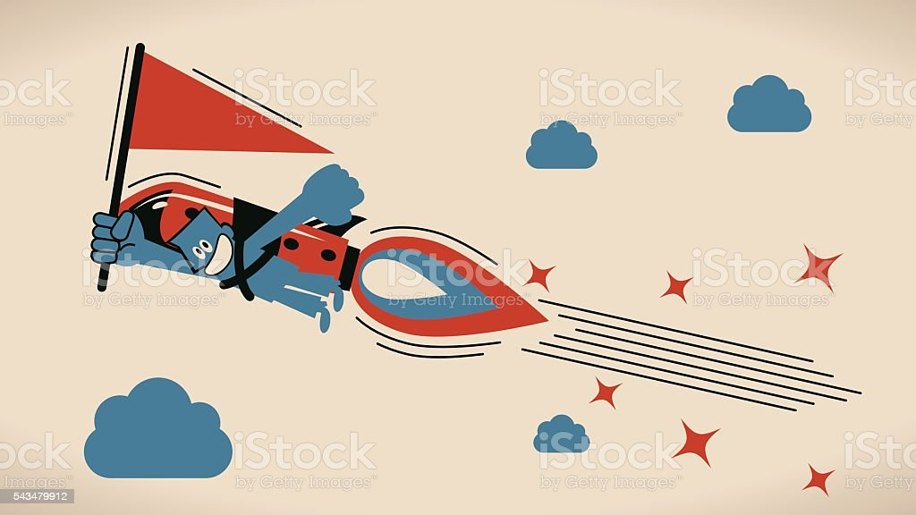 Businessman flying with jet pack rocket (backpack) and red flag vector art illustration