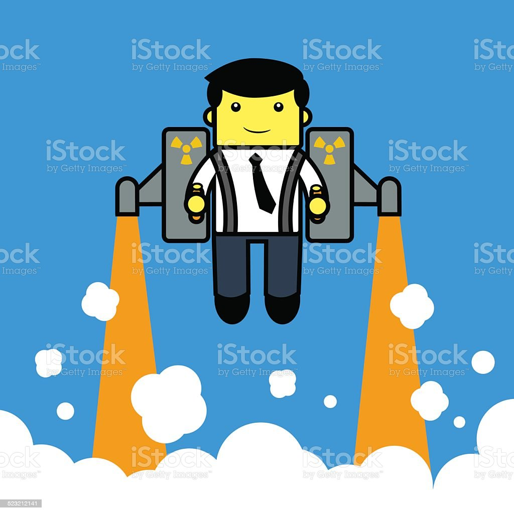 Businessman flying with. jetpack. vector art illustration