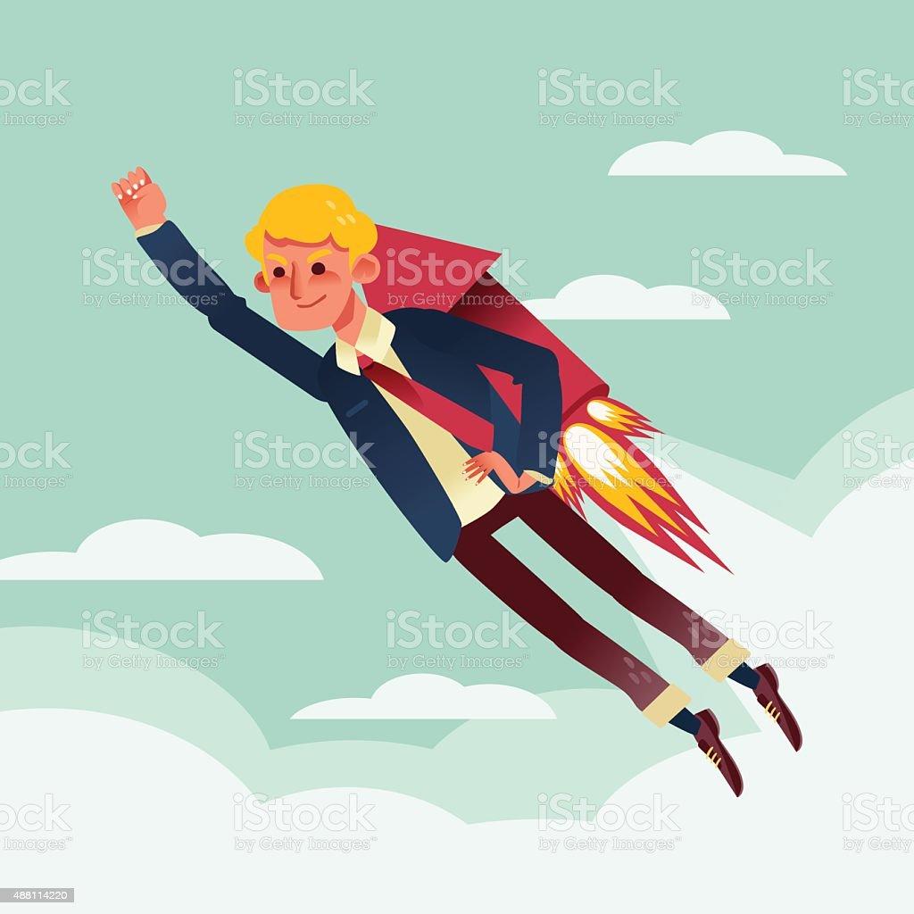 businessman flying with rocket backpack illustration vector art illustration