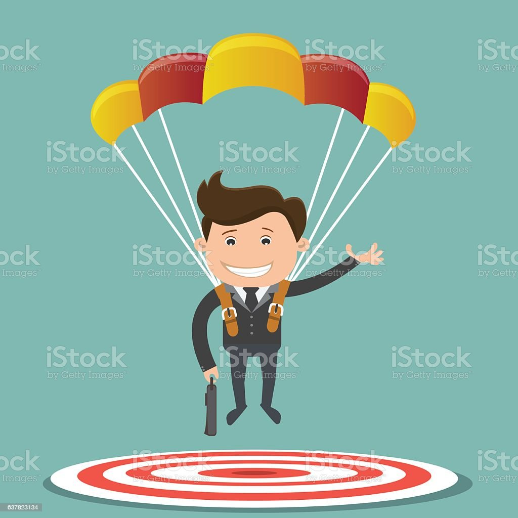 Businessman focused on a target with parachute. vector art illustration