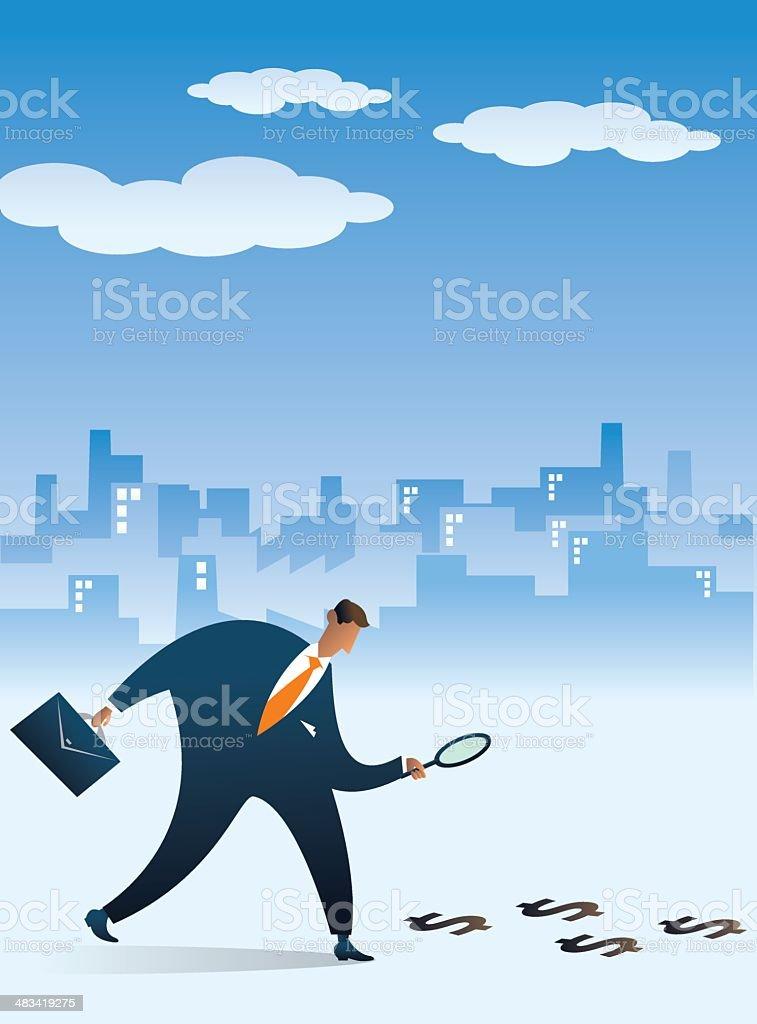 Businessman following the money footprint vector art illustration
