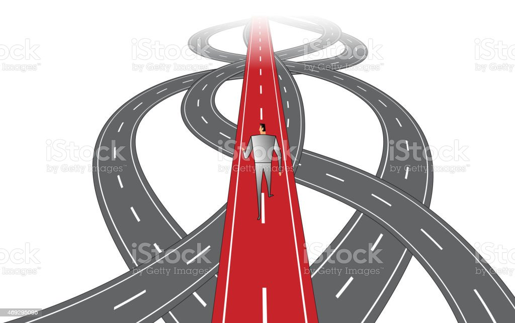 Businessman Forward Path vector art illustration