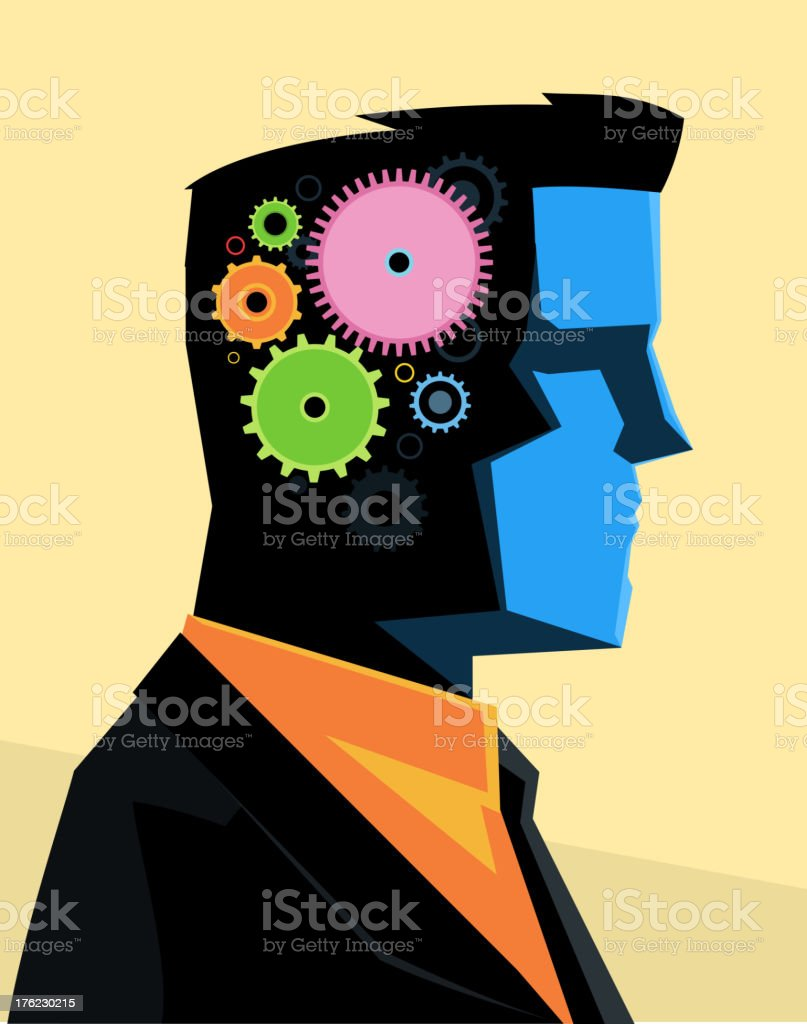 Businessman Gear Brain vector art illustration