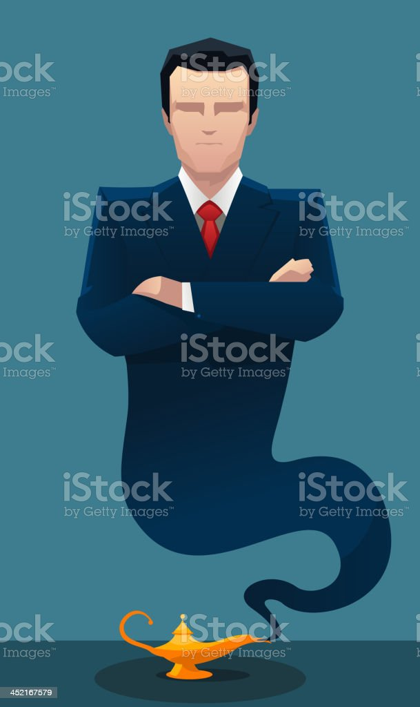 Businessman genie coming out of lamp vector art illustration