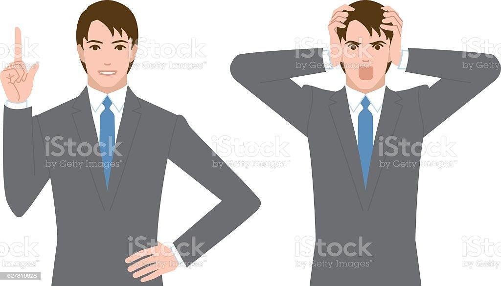 businessman gesture vector art illustration