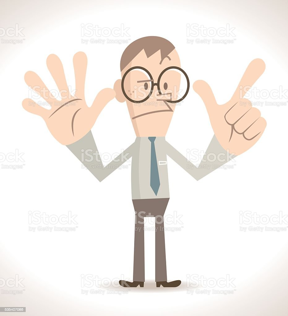 Businessman gesturing number 7, two hand raised (palm and gun) vector art illustration