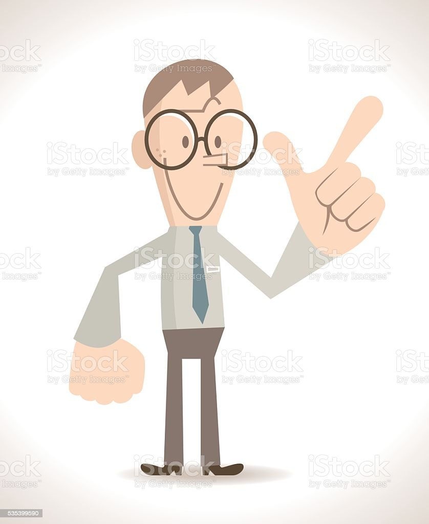 Businessman (skinny nerd) gesturing number 7 ( showing gun hand sign) vector art illustration