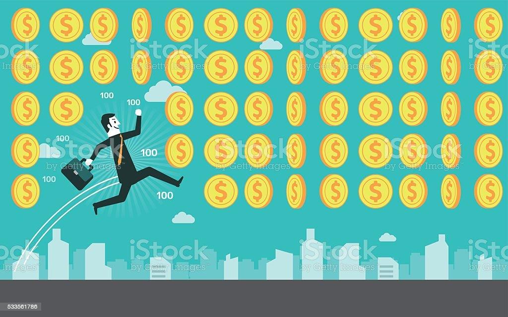 Businessman get coins vector art illustration