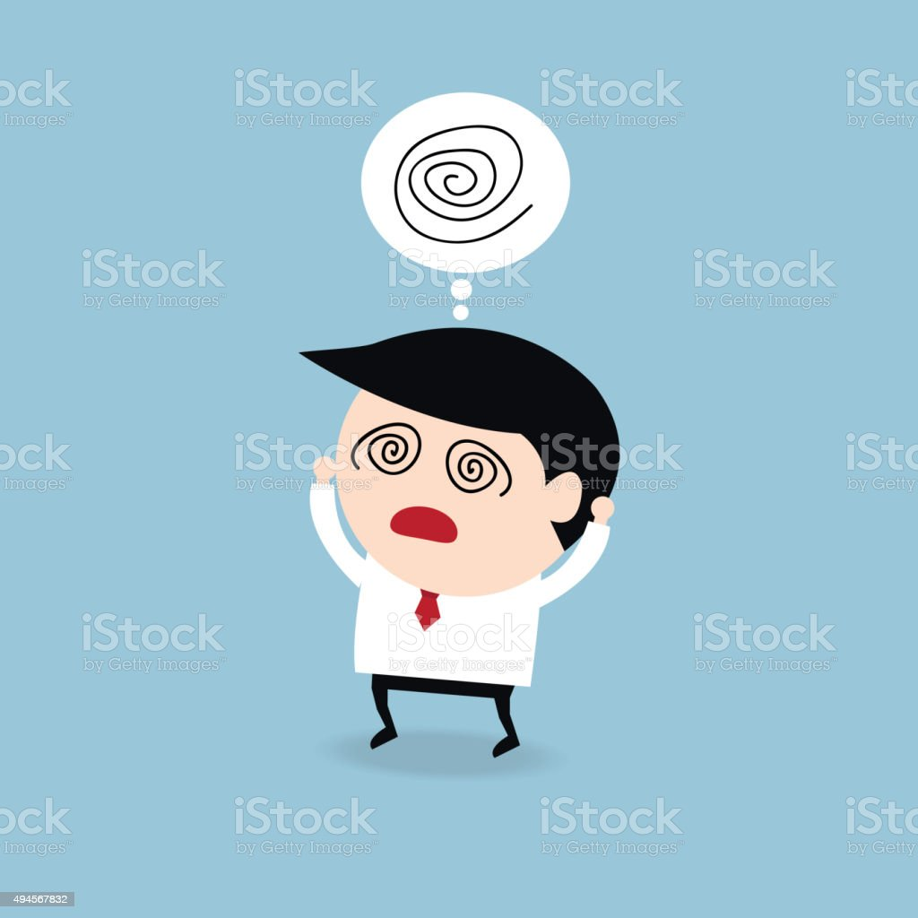 Businessman get confused, flat design vector art illustration