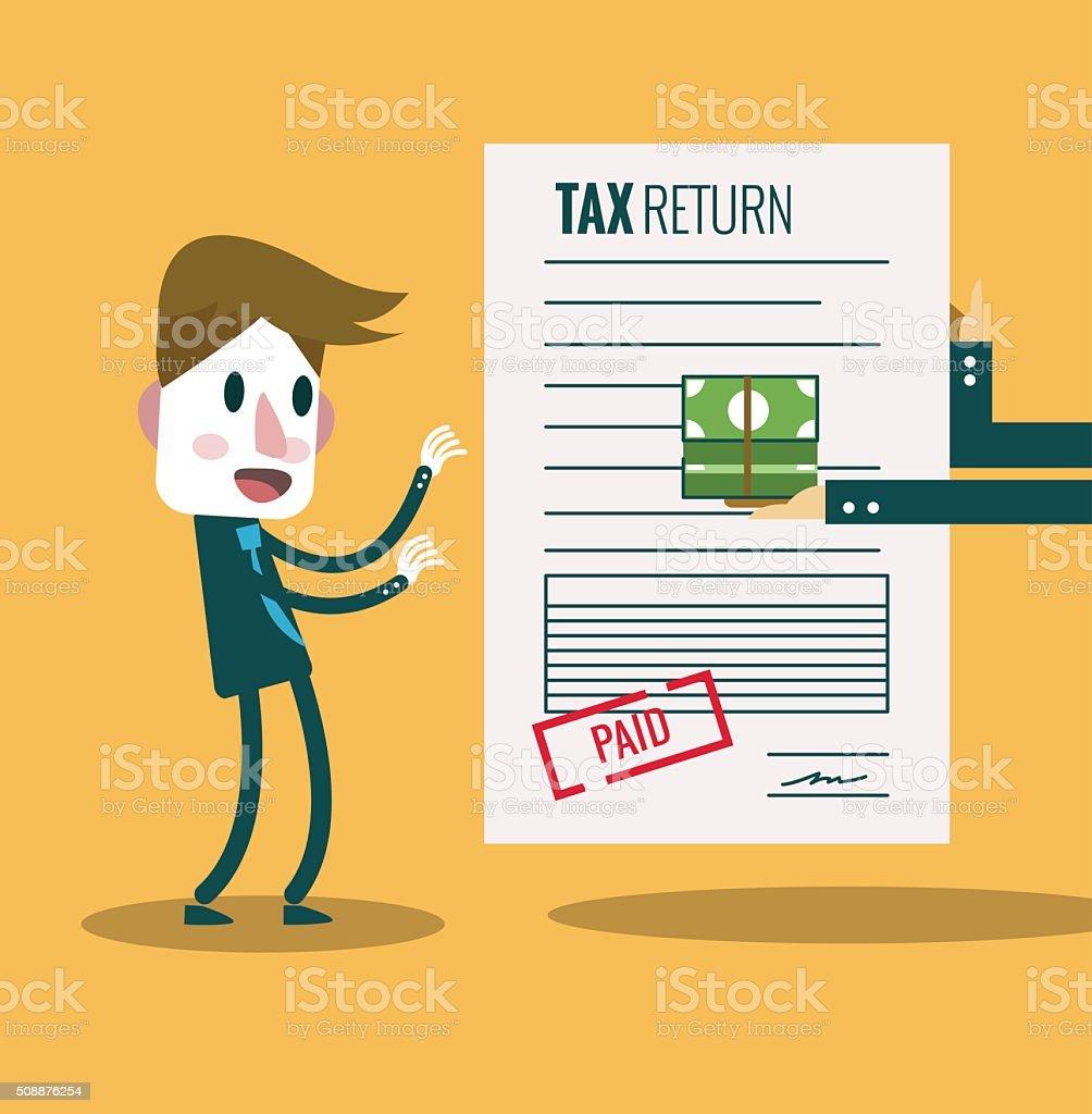 Businessman get paid bill and money return.Tax return concept. vector art illustration