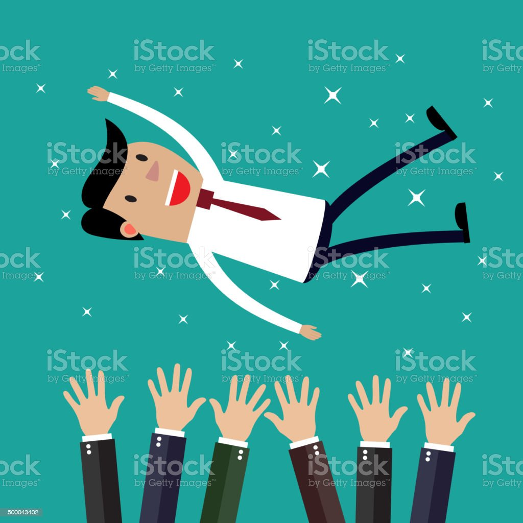 Businessman get thrown into the air by coworkers vector art illustration
