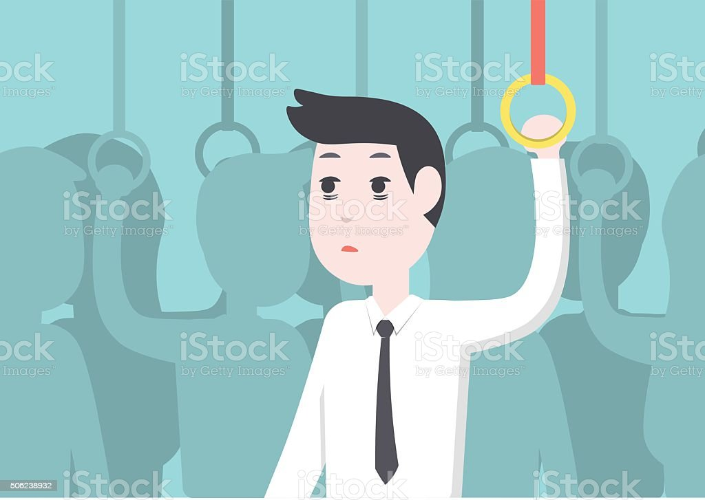 businessman get tried and boredon on public transport vector art illustration
