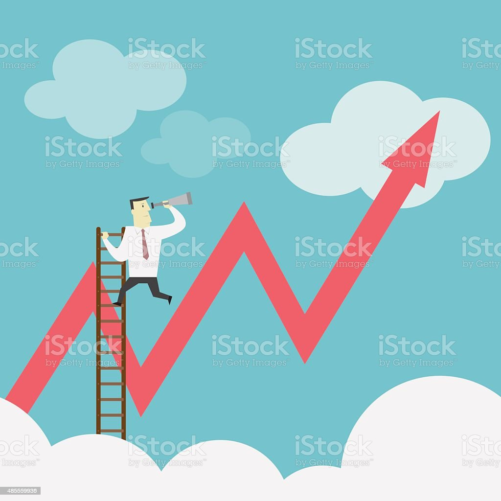 Businessman gets a better view on the Ladder - Vector vector art illustration