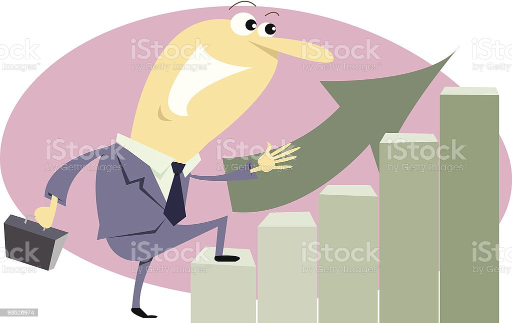 Businessman getting to the top walking on good stats royalty-free stock vector art
