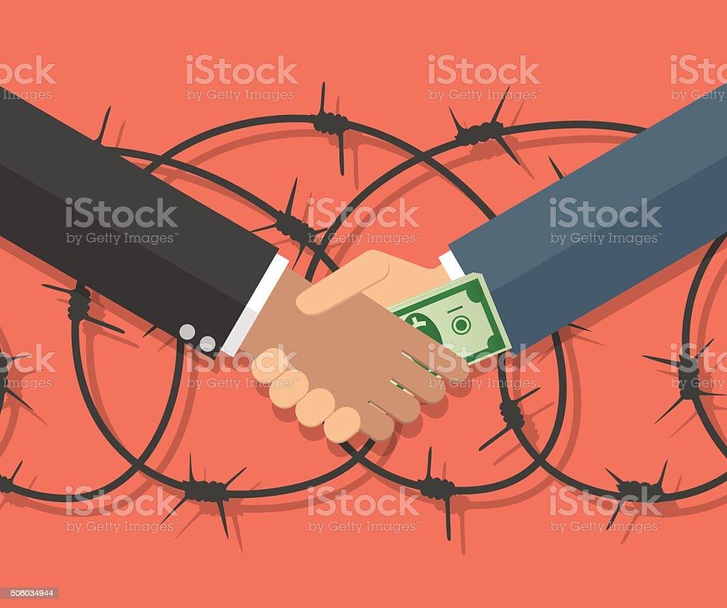 Businessman giving a bribe vector art illustration