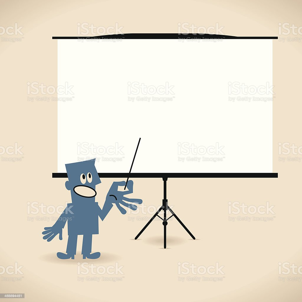 Businessman giving a presentation in a conference/meeting setting royalty-free stock vector art
