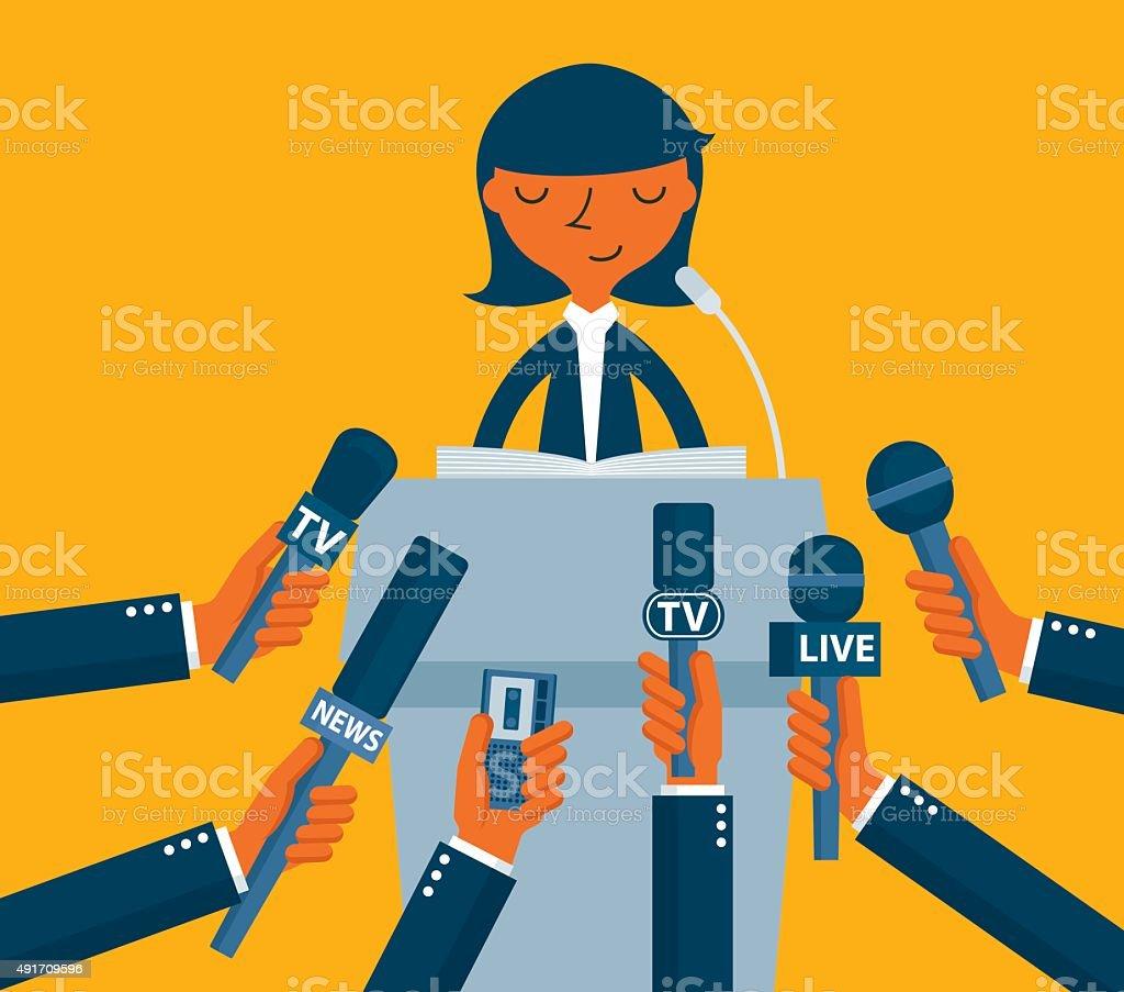Businessman giving an interview vector art illustration