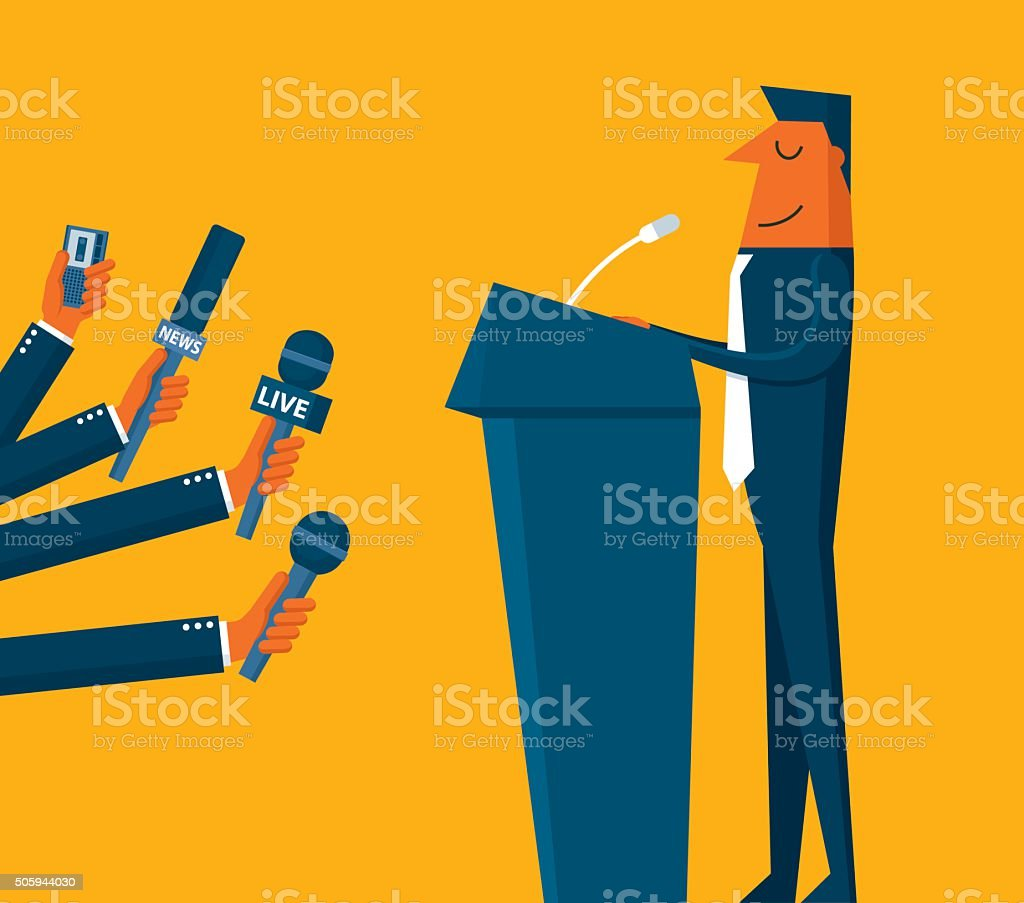 Businessman giving an interview vector art illustration