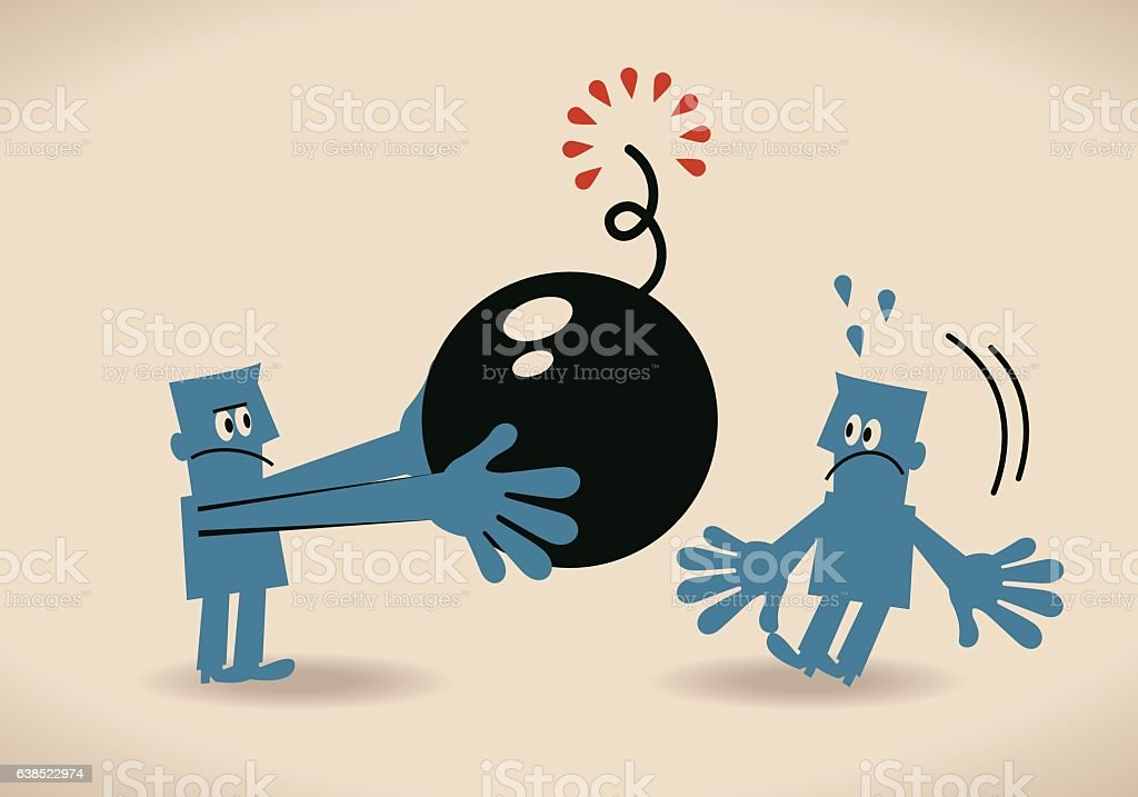 Businessman giving (pushing) bomb (crisis, threat) to another one vector art illustration