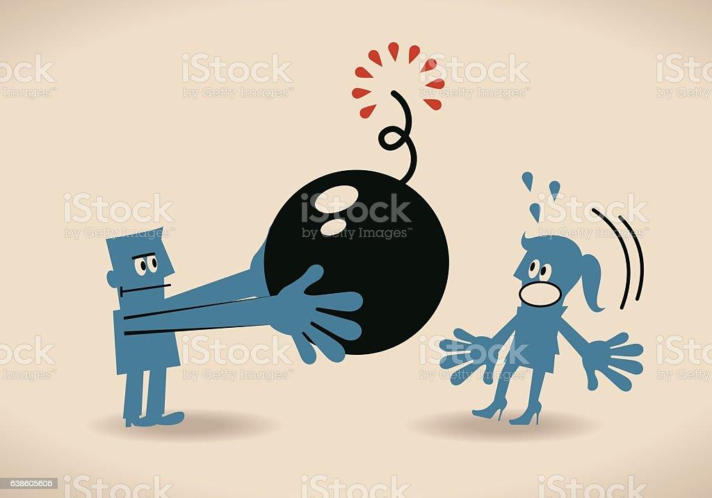Businessman giving (pushing, taking, bringing) bomb (crisis, threat) to businesswoman vector art illustration