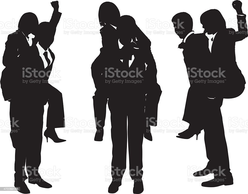 Businessman giving businesswoman piggyback ride vector art illustration