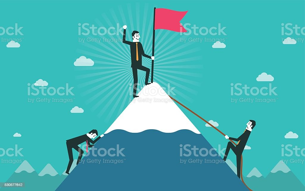 Businessman go to the top of mountain vector art illustration