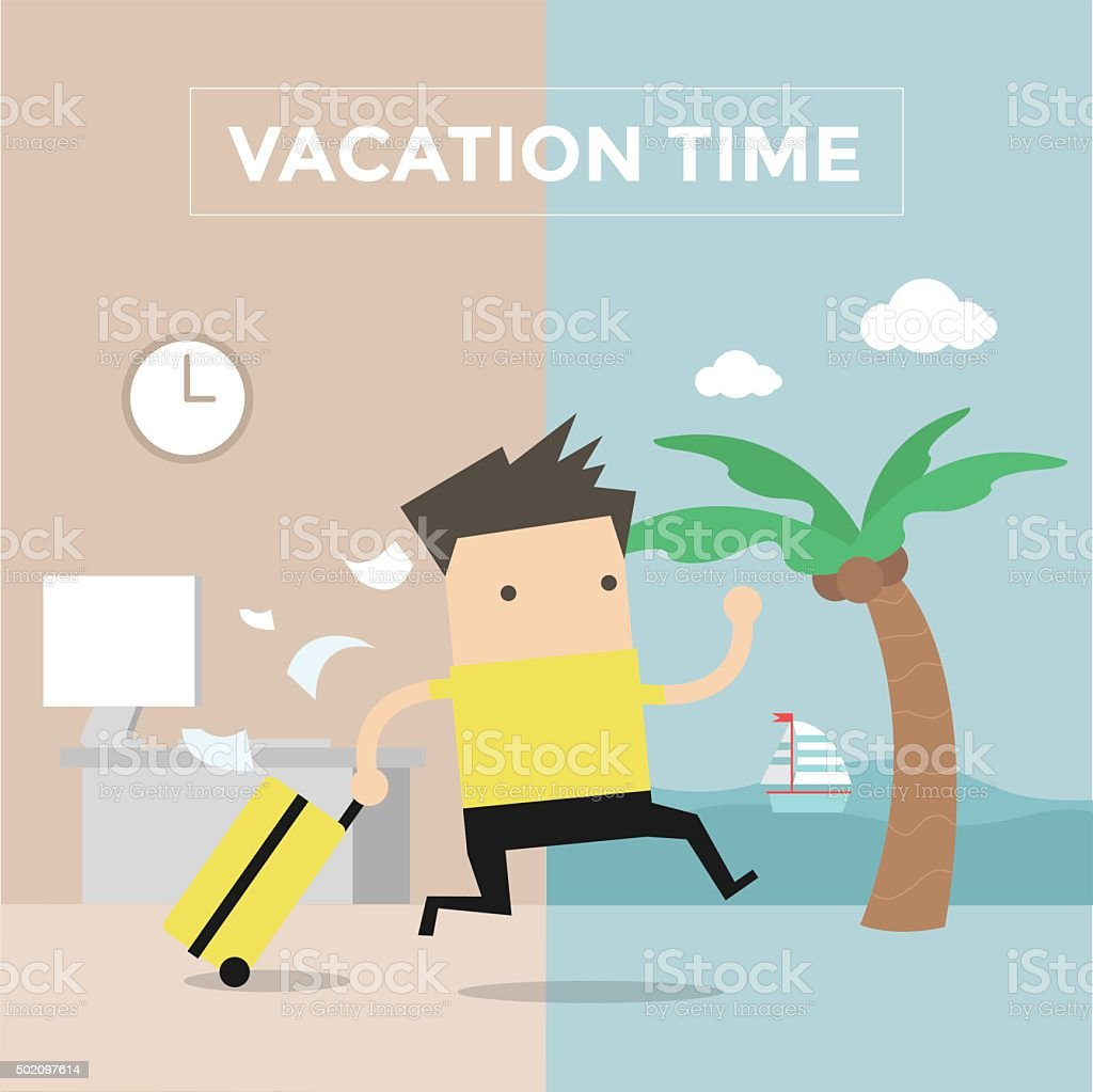 Businessman go to travel on vacation time vector art illustration