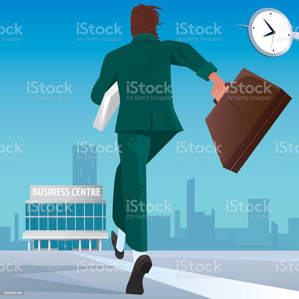 Businessman go to work in business center vector art illustration