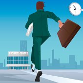 Businessman go to work in business center