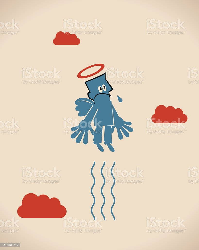 Businessman go up (flying) to heaven with wings vector art illustration