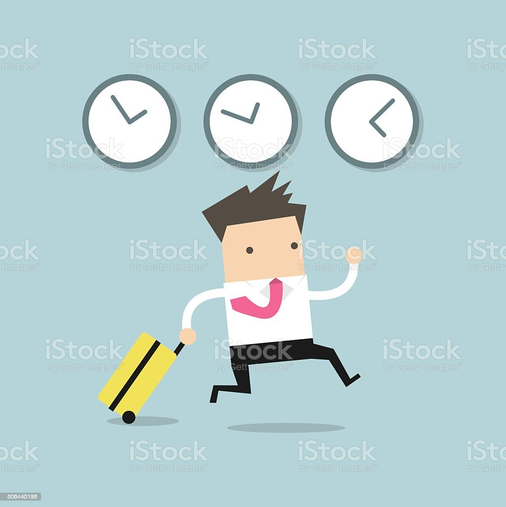 Businessman goes on a business trip abroad vector art illustration