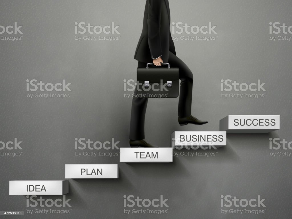 businessman going up to the success way vector art illustration