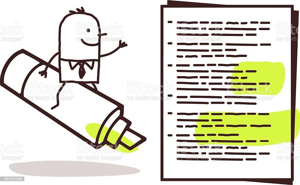 businessman & green marker vector art illustration
