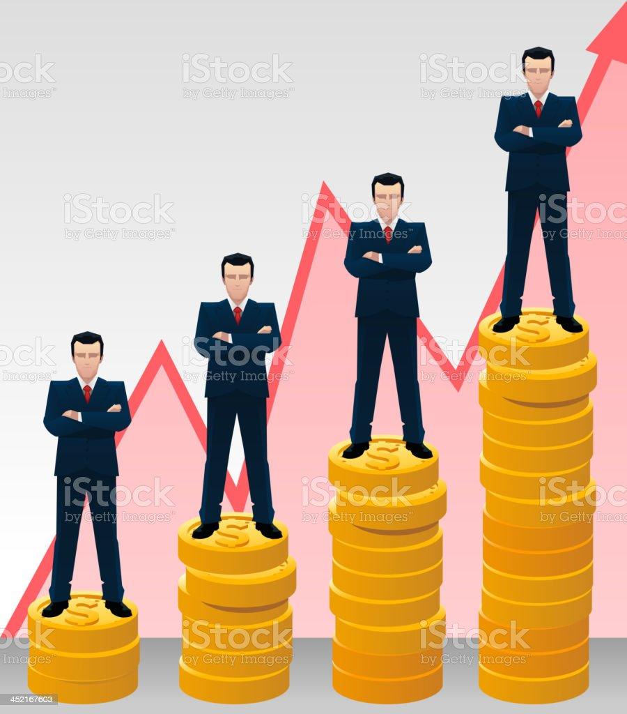 Businessman growing chart royalty-free stock vector art