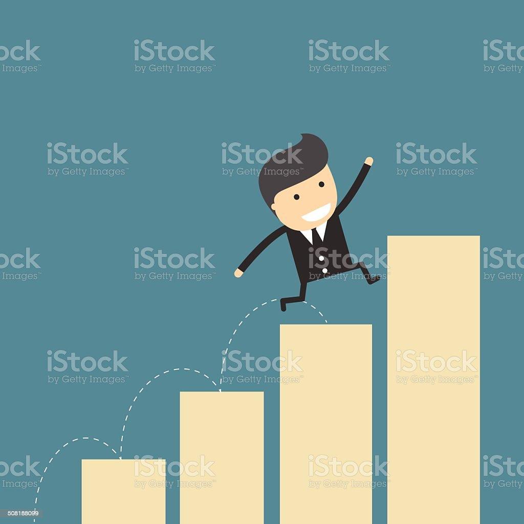 Businessman Growing leap vector art illustration