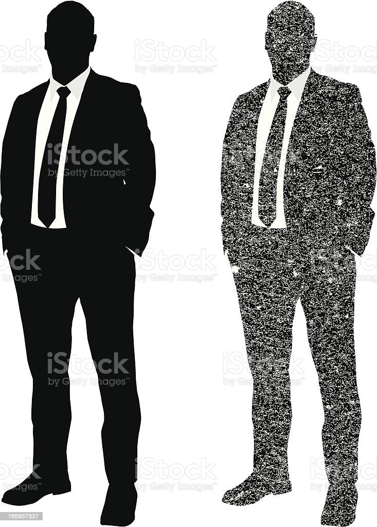 Businessman grunge style silhouette royalty-free stock vector art