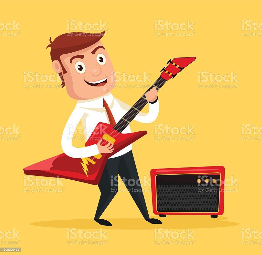Businessman guitarist. Vector flat cartoon illustration vector art illustration