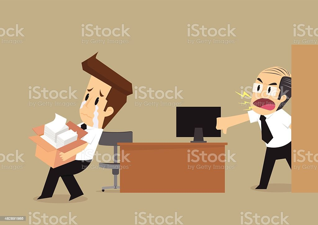 businessman had been fired from his job vector art illustration
