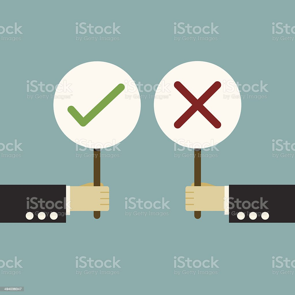 Businessman hand hold of signboard true or false vector art illustration