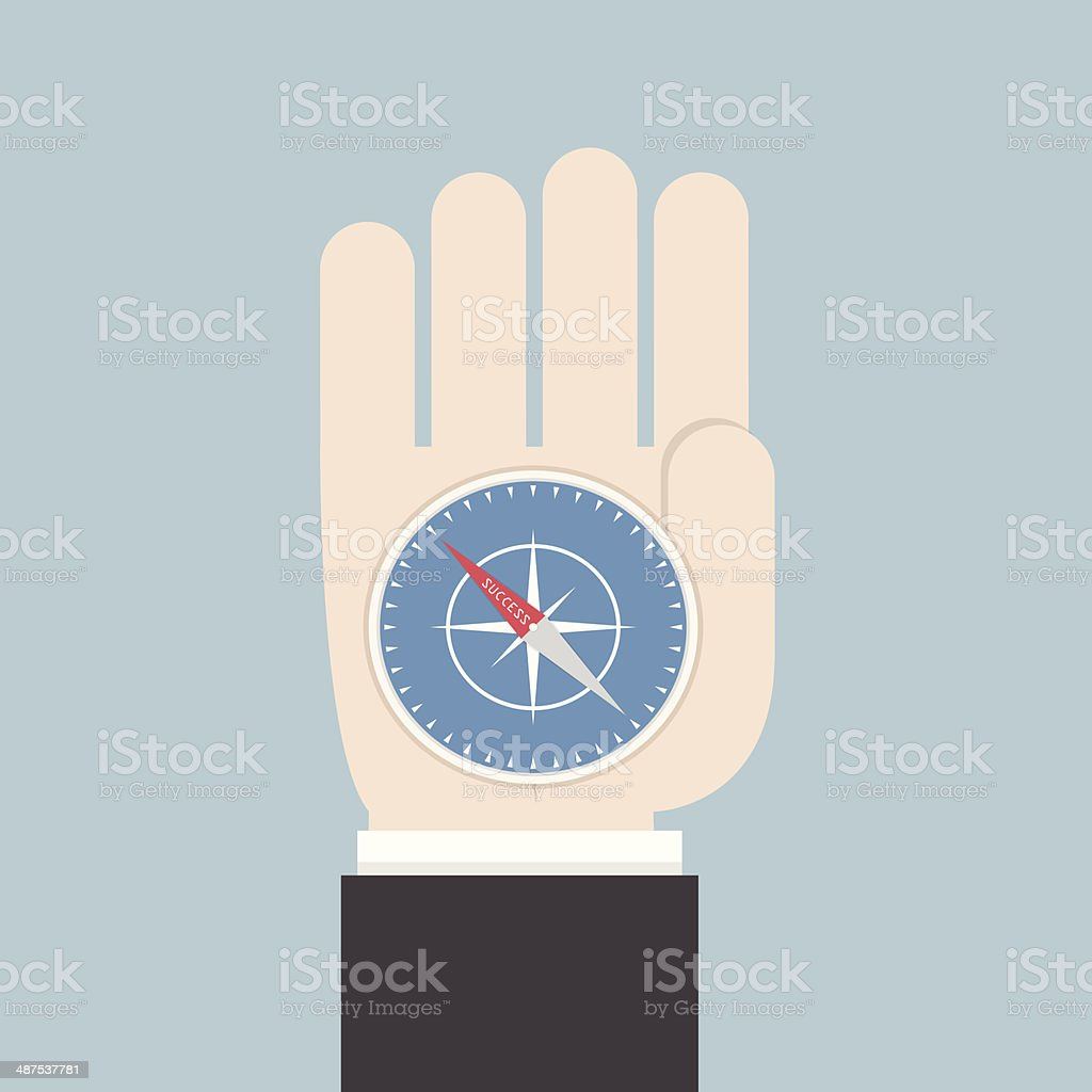 Businessman hand holding a compass that points to success royalty-free stock vector art