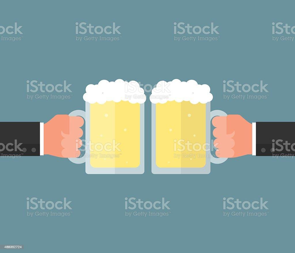 Businessman hand holding a glass of beer. Clink glasses concept vector art illustration