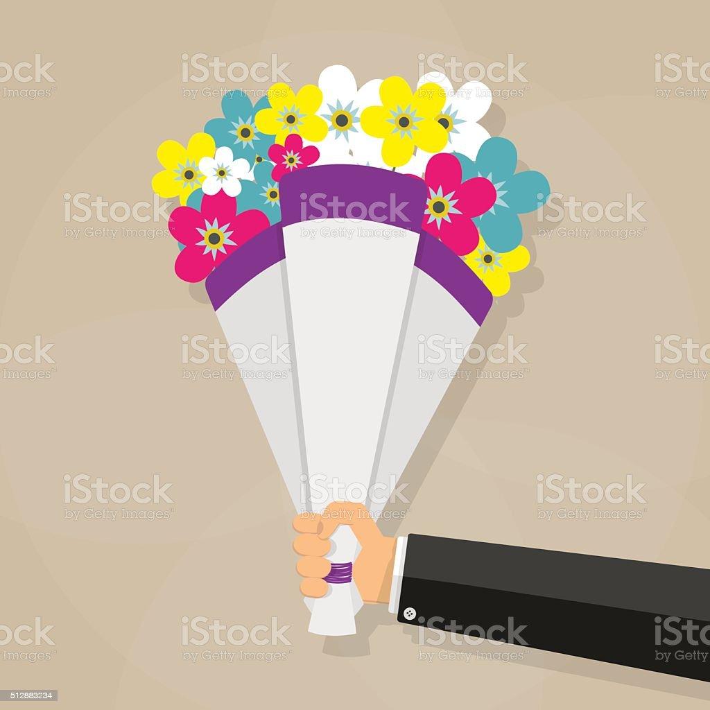 Businessman hand holding bouquet vector art illustration